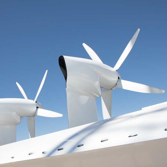 Makani propellers against the sky.